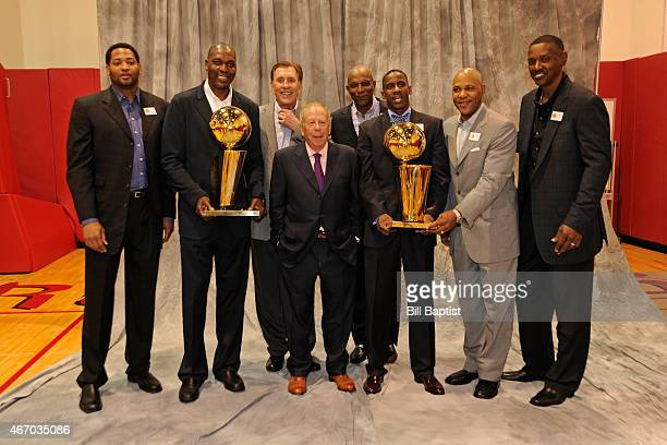 Robert Horry Hakeem Olajuwon Rudy Tomjanovich Leslie Alexander Clyde Drexler Vernon Maxwell Larry Smith and Otis Thorpe pose for a photo during the...