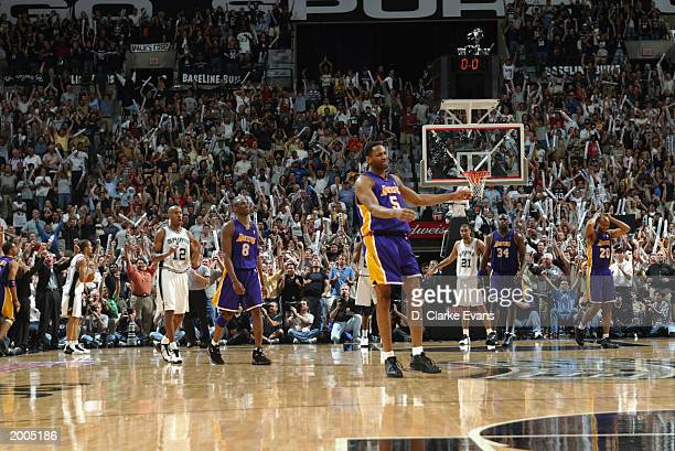 Robert Horry of the Los Angeles Lakers reacts after missing a last minute threepointer that would have beaten the San Antonio Spurs in Game five of...