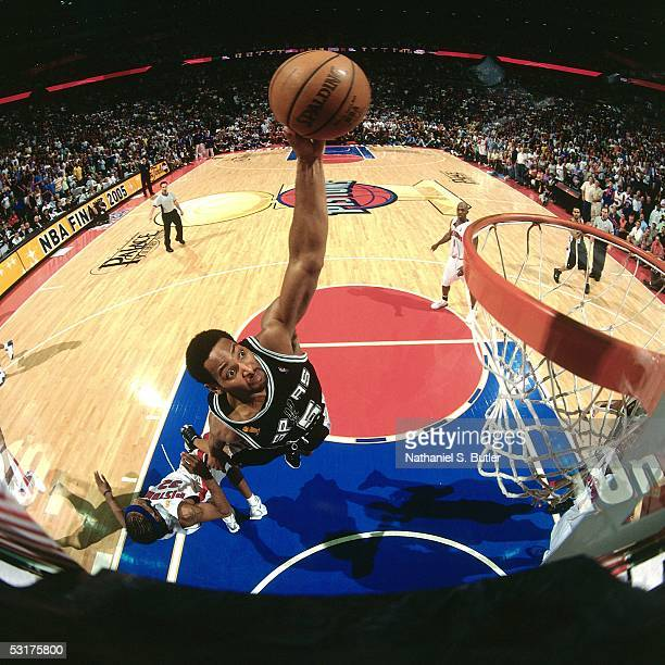 Robert Horry of the San Antonio Spurs goes up for a dunk against Richard Hamilton of the Detroit Pistons in Game Five of the 2005 NBA Finals at the...