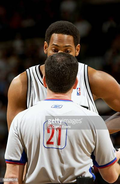 Robert Horry of the San Antonio Spurs talks to referee Tim Donaghy during the game against the Indiana Pacers on December 27, 2005 at the SBC Center...