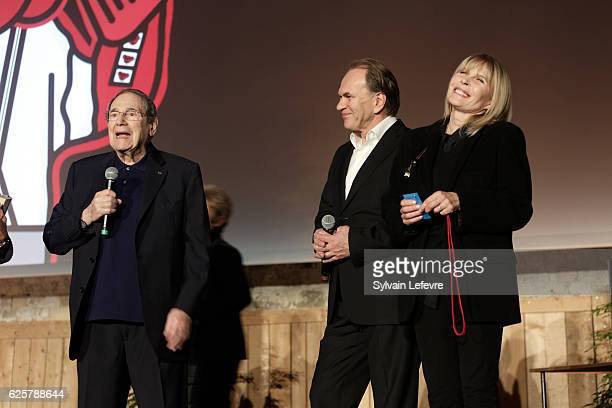 Robert Hossein Aleksei Guskov and Candice Patou attend the tribute to Robert Hossein during Russian Film Festival on November 25 2016 in Honfleur...