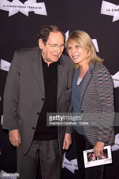 Robert Hossein and Candice Patou attend Amour Premiere at la Cinematheque Francaise in Paris
