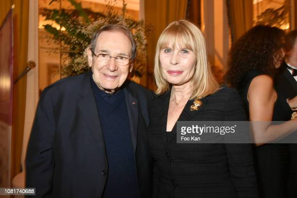 Robert Hossein and Candice Patou attend Bal Des Tsars Et Des Tsarines At Hotel Interallie on January 12, 2019 in Paris, France.