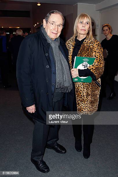 Robert Hossein and Candice Patou attend has the signature of the book 'Espace Cardin' by JeanPascal Hesse at Espace Pierre Cardin on March 14 2016 in...