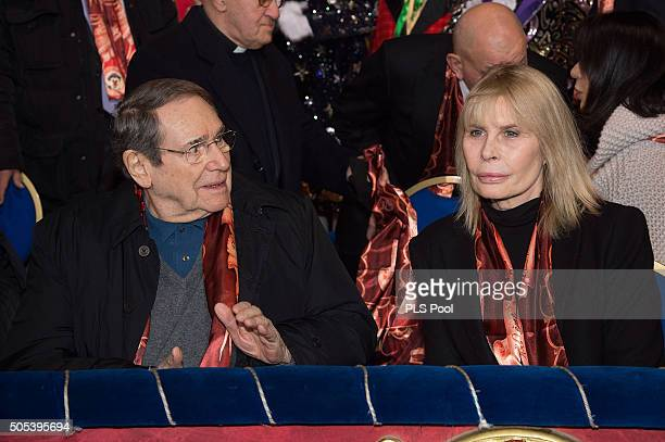 Robert Hossein and Candice Patou attend the 40th International Circus Festival on January 17 2016 in Monaco Monaco