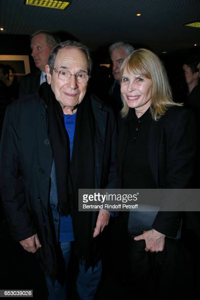 Robert Hossein and Candice Patou attend the Chacun sa vie Paris Premiere at Cinema UGC Normandie on March 13 2017 in Paris France