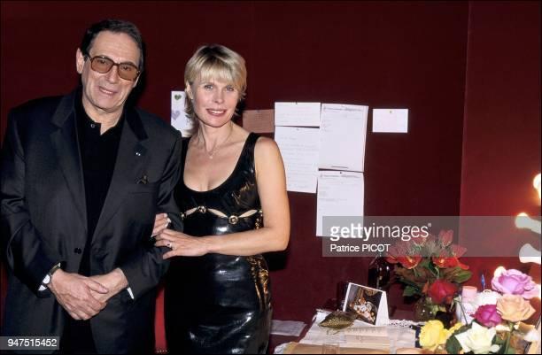 Robert Hossein and Candice Patou soiree Moet et Chandon La nuit du crime 1994