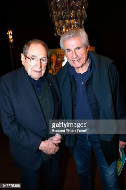 Robert Hossein and Claude Lelouch attend the 'Patrick et ses Fantomes' Theater Play at Casino de Paris on April 17 2018 in Paris France