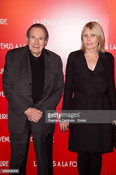Robert Hossein and his wife Candice Patou attend 'La Venus A La Fourrure' Premiere at Cinema Gaumont Marignan in Paris