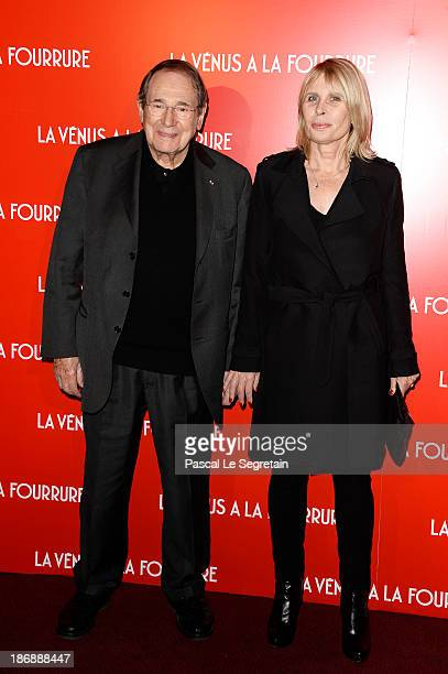 Robert Hossein and his wife Candice Patou attend 'La Venus A La Fourrure Venus In Fur' Premiere at Cinema Gaumont Marignan on November 4 2013 in...