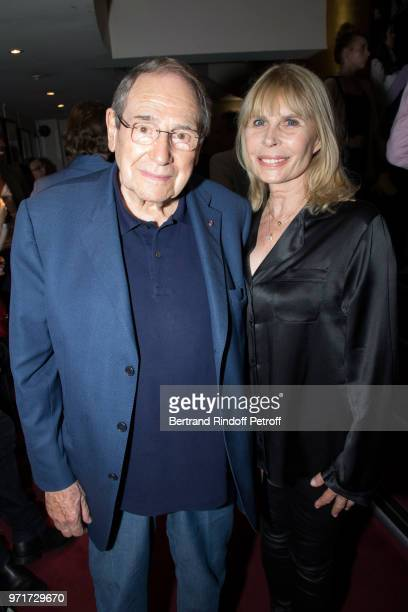 Robert Hossein and his wife Candice Patou attend L'Entree des Artistes Theater School by Olivier Belmondo at Theatre Des Mathurins on June 11 2018 in...