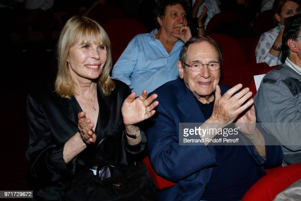 Robert Hossein and his wife Candice Patou attend 'L'Entree des Artistes' Theater School by Olivier Belmondo at Theatre Des Mathurins on June 11 2018...