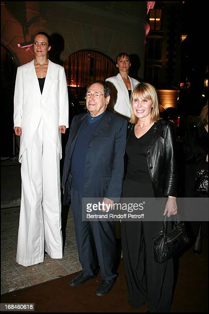 Robert Hossein and his wife Candice Patou Opening of the luxury hotel Fouquet's Barriere on the Champs Elysees in Paris