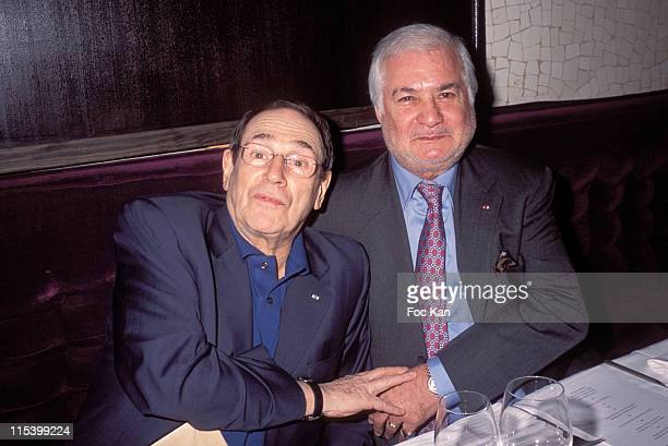 Robert Hossein and Jean Claude Brialy during Eddie Barclay birthday Party at Club Les Bains in Paris France