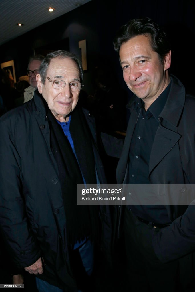Robert Hossein and Laurent Gerra attend the 'Chacun sa vie' Paris Premiere at Cinema UGC Normandie on March 13, 2017 in Paris, France.
