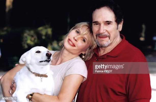 Robert Hossein et Candice Patou à Rome en aout 1996, Italie.