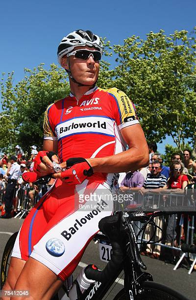Robert Hunter of South Africa and Barloworld prepares for stage 7 of the 2007 Tour de France from Bourg-en-Bresse to Le Grand-Bournand on July 14,...