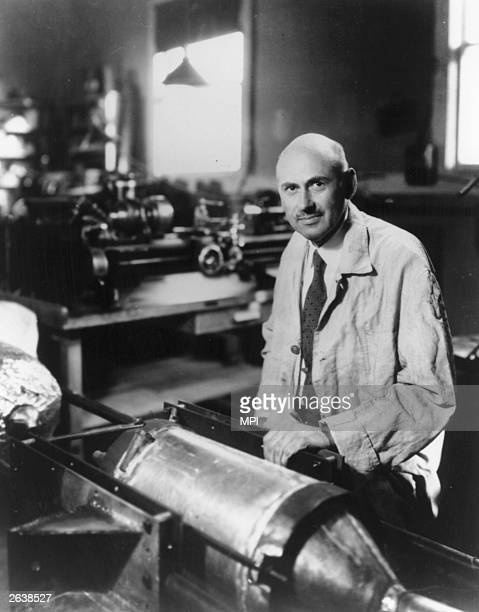 Robert Hutchings Goddard the physicist and rocket pioneer who launched the first liquid propelled rocket in 1926 and one in 1935 which exceeded the...