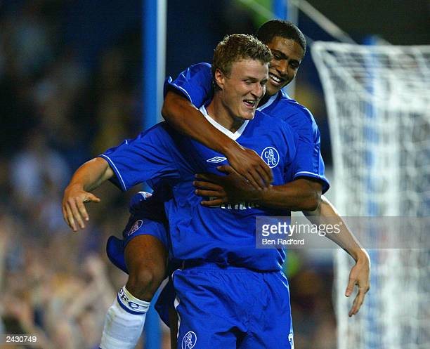 Robert Huth of Chelsea celebrates scoring their second goal during the UEFA Champions League 3rd Round, 2nd leg Qualifier match between Chelsea and...