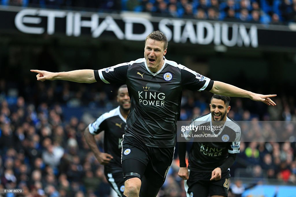 Robert Huth of Leicester celebrates after scoring their 3rd goal during the Barclays Premier League match between Manchester City and Leicester City at the Etihad Stadium on February 6, 2016 in Manchester, England.