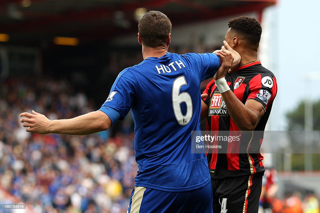 Robert Huth of Leicester City and Tyrone Mings of Bournemouth argue during the Barclays Premier League match between A.F.C. Bournemouth and Leicester City at Vitality Stadium on August 29, 2015 in Bournemouth, England.