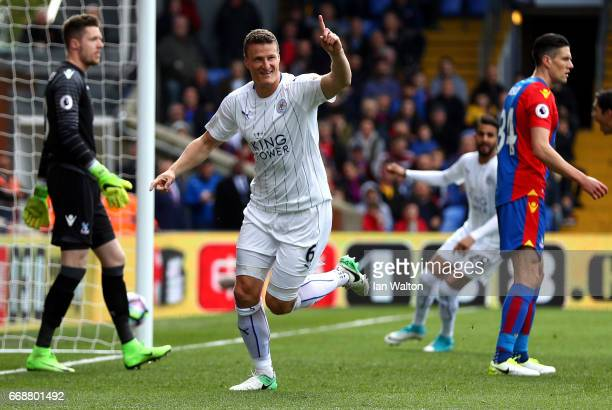 Robert Huth of Leicester City celebrates scoring his sides first goal during the Premier League match between Crystal Palace and Leicester City at...
