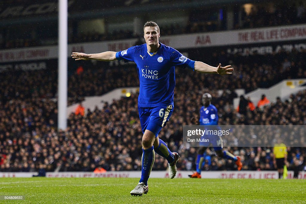 Robert Huth of Leicester City celebrates scoring his team's first goal during the Barclays Premier League match between Tottenham Hotspur and Leicester City at White Hart Lane on January 13, 2016 in London, England.