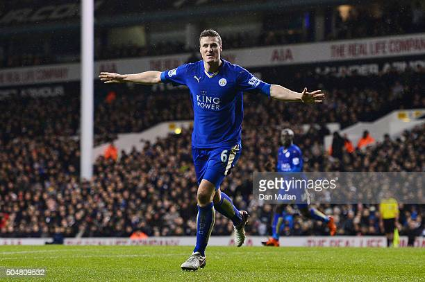 Robert Huth of Leicester City celebrates scoring his team's first goal during the Barclays Premier League match between Tottenham Hotspur and...