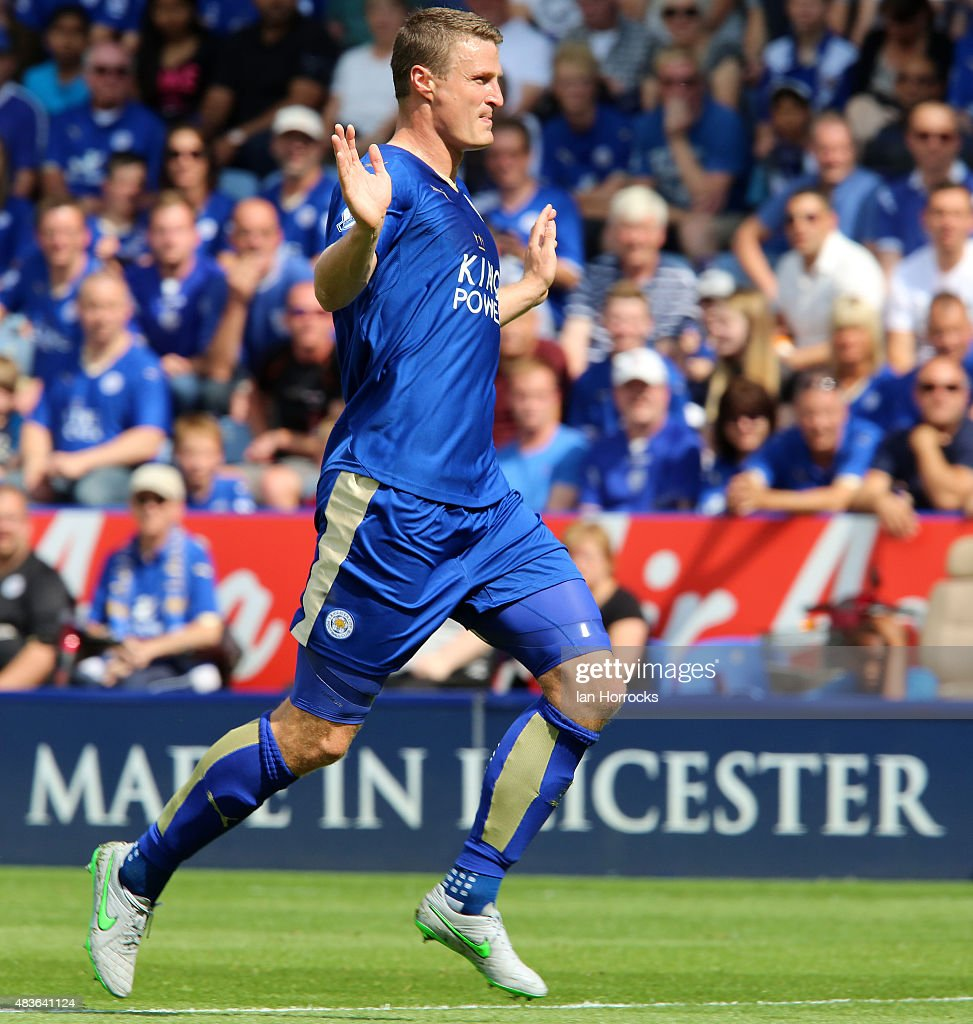 Robert Huth of Leicester City during the Barclays Premier League match between Leicester City and Sunderland at the King Power Stadium on August 08, 2015 in Leicester, England.