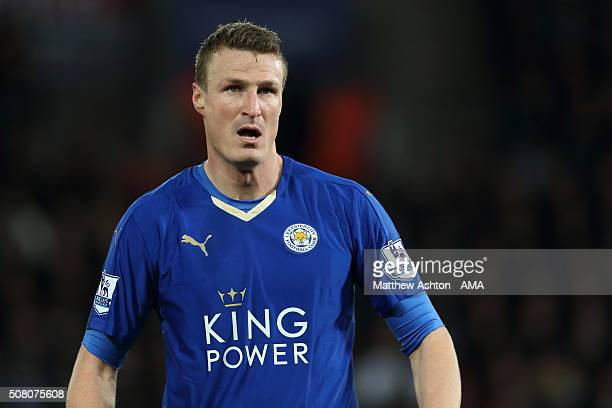 Robert Huth of Leicester City during the Barclays Premier League match between Leicester City and Liverpool at the King Power Stadium on February...