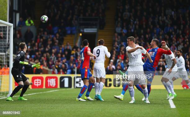 Robert Huth of Leicester City scores his sides first goal during the Premier League match between Crystal Palace and Leicester City at Selhurst Park...
