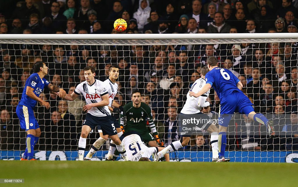 Robert Huth (1st R) of Leicester City scores his team's first goal during the Barclays Premier League match between Tottenham Hotspur and Leicester City at White Hart Lane on January 13, 2016 in London, England.