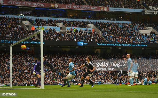 Robert Huth of Leicester City scores his team's third goal during the Barclays Premier League match between Manchester City and Leicester City at the...