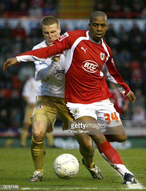 Robert Huth of Middlesbrough closes down Darren Byfield of Bristol City during the FA Cup Sponsored by eon Third Round match between Bristol City and...