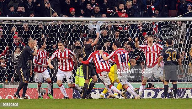 Robert Huth of Stoke celebrates after scoring an equalizing goal against Liverpool during the Barclays Premier League match between Stoke City and...