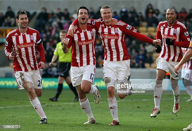 Robert Huth of Stoke celebrates scoring the winning goal during the FA Cup Sponsored by EON 4th Round match between Wolverhampton Wanderers and Stoke...
