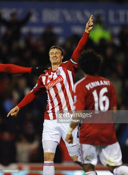 Robert Huth of Stoke celebrates scoring to make it 10 during the Barclays Premier League match between Stoke City and Birmingham City at the...