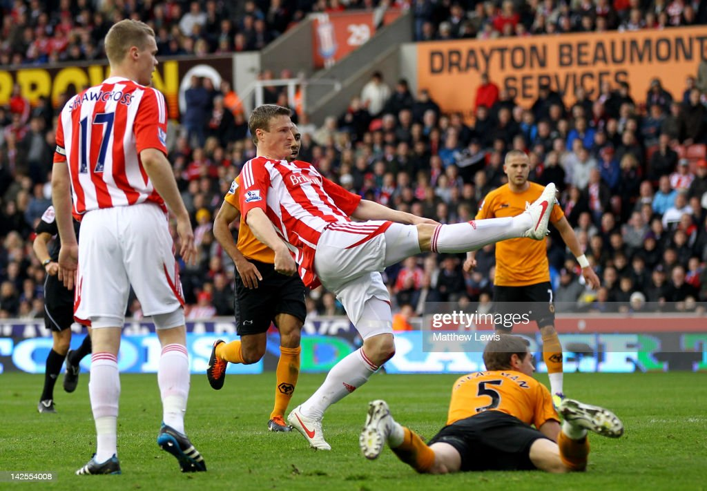 Robert Huth of Stoke City scores his team's first goal during the Barclays Premier League match between Stoke City and Wolverhampton Wanderers at the Britannia Stadium on April 7, 2012 in Stoke on Trent, England.