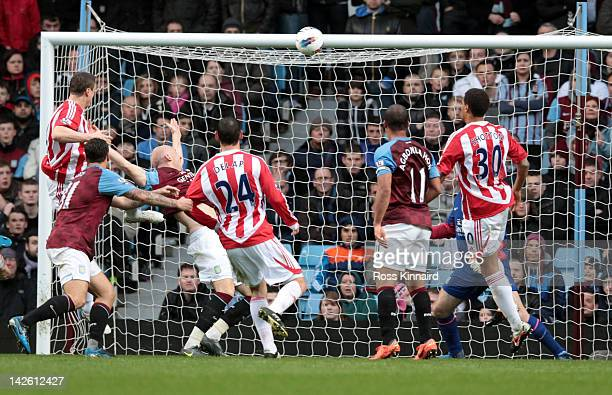 Robert Huth of Stoke scores during the Premier League match between Aston Villa and Stoke City at Villa Park on April 9 2012 in Birmingham England