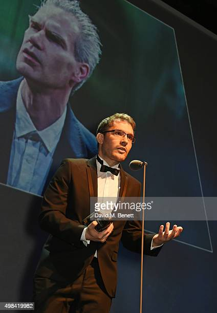 Robert Icke accepts the Best Director award for Oresteia at The London Evening Standard Theatre Awards in partnership with The Ivy at The Old Vic...