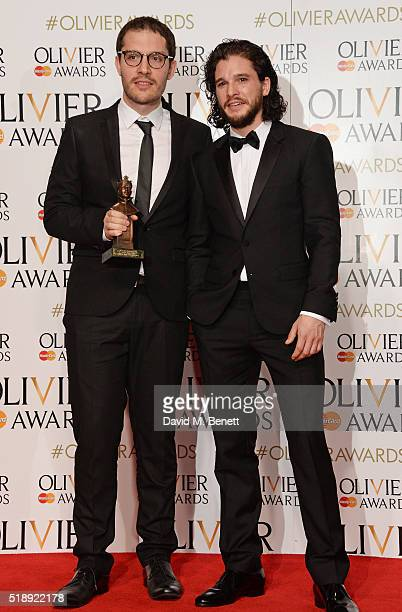 Robert Icke winner of the Best Director award for Oresteia and Kit Harington pose in the Winners Room at The Olivier Awards with Mastercard at The...