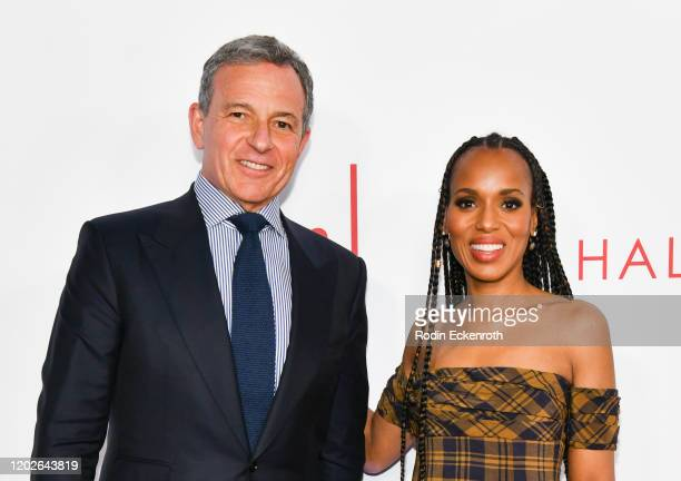 Robert Iger and Kerry Washington attend the Television Academy's 25th Hall Of Fame Induction Ceremony at Saban Media Center on January 28 2020 in...