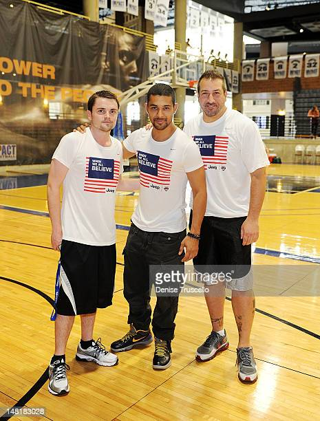 Robert Iler Wilmer Valderrama and Joey Fatone during the Jalen Rose Leadership Academy clinic at Impact Basketball on July 11 2012 in Las Vegas Nevada