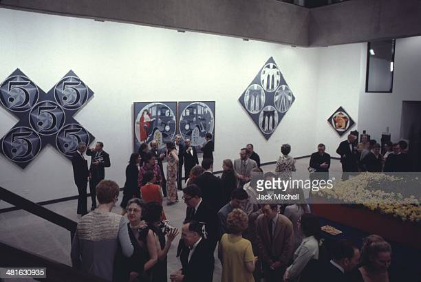 Robert Indiana art exhibition opening at the Museum of Modern Art New York City 1968