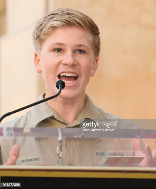 Robert Irwin attends a ceremony honoring Steve Irwin with star on The Hollywood Walk of Fame on April 26, 2018 in Los Angeles, California.