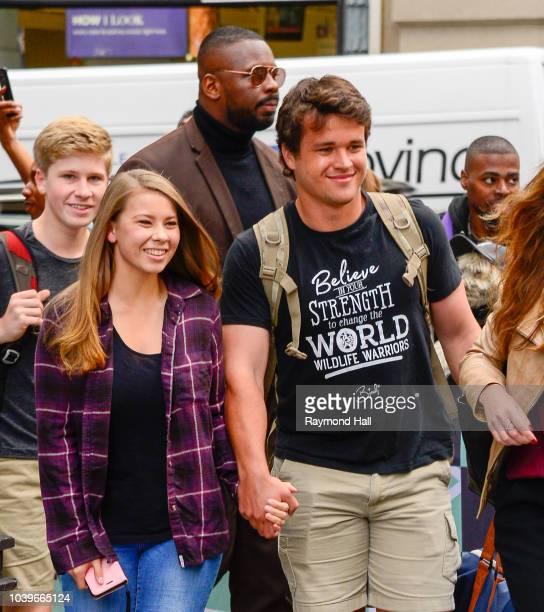 Robert Irwin, Bindi Irwin and Chandler Powell are seen walking in soho on September 24, 2018 in New York City.