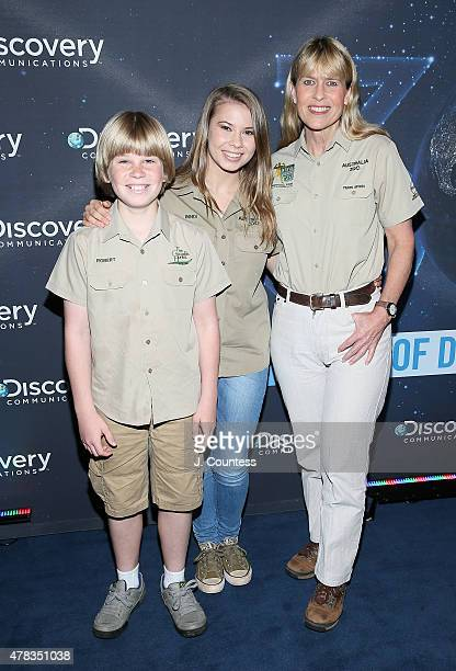 Robert Irwin Bindi Irwin and Terri Irwin attend the Discovery Communications 30th Anniversary Celebration at Paley Center For Media on June 24 2015...
