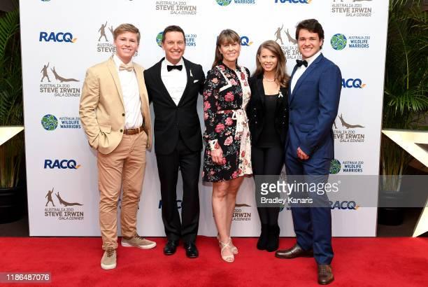 Robert Irwin, Rove McManus, Terri Irwin, Bindi Irwin and Chandler Powell pose for a photo at the annual Steve Irwin Gala Dinner at Brisbane...