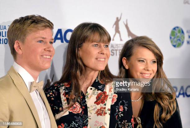 Robert Irwin, Terri Irwin and Bindi Irwin pose for a photo at the annual Steve Irwin Gala Dinner at Brisbane Convention & Exhibition Centre on...