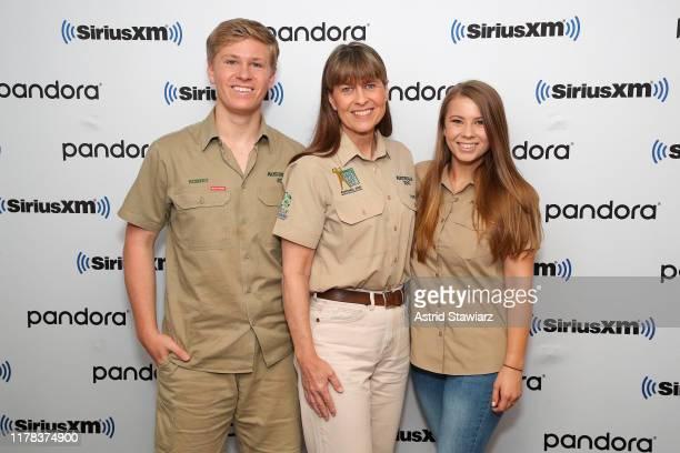 Robert Irwin, Terri Irwin and Bindi Irwin visit the SiriusXM studios on October 01, 2019 in New York City.